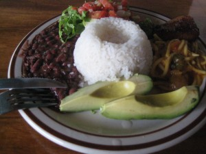 rice and beans + avocado, salad and crazy noodles!