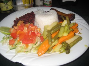 rice and beans + steamed veggies and salsa