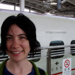 And about to board a high-speed train in Japan, just so she can brag about it later.